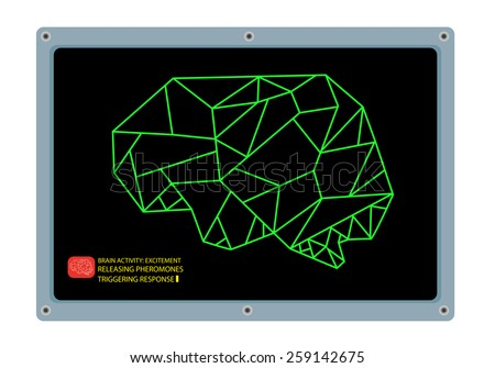Low Poly graphic design vector of the Anatomical Shape of the Brain. Conceptual art of the mid on computer monitor as a medical research. Editable EPS10 illustration. - stock vector
