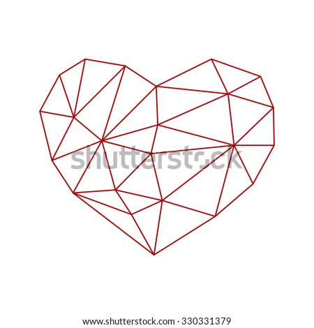 low poly heart icon isolated on white background. vector illustration - stock vector