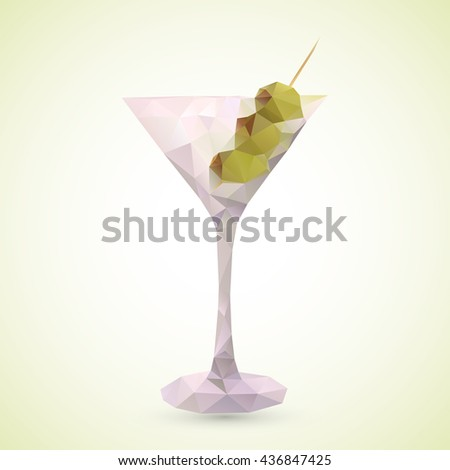 Low poly illustration of a glass of Martini olive cocktail drink. made with vector triangles