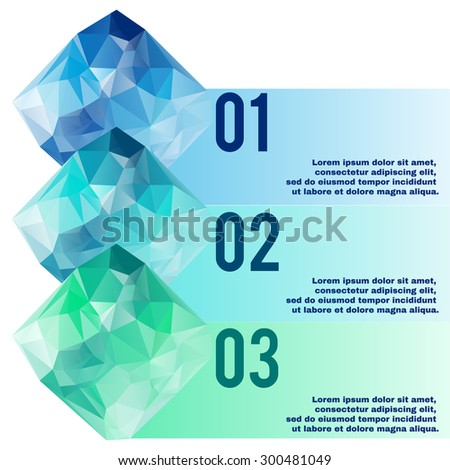 Low poly info graphic. Diamond shape polygonal vector elements. - stock vector