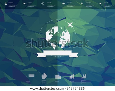Low poly infographics template user interface with globe badge and ribbon element. Low poly background. Travel infographics icons for websites or presentations. Eps10 vector illustration. - stock vector