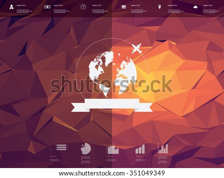 Low poly infographics template user interface with globe badge and ribbon element. Low-poly background. Travel infographic icons for websites or presentations. Eps10 vector illustration. - stock vector