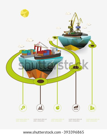Low poly island with sea port. Infographic vector illustration. - stock vector