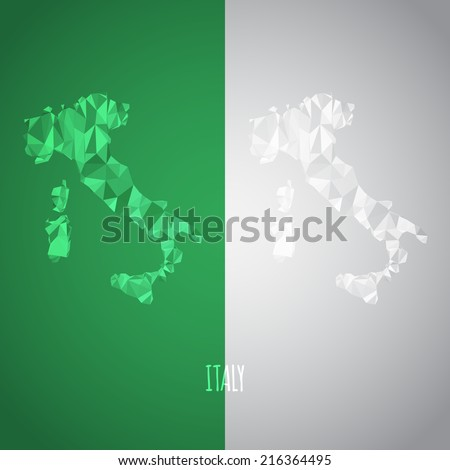 Low Poly Italy Map with National Colors - Infographic - Vector Illustration - stock vector