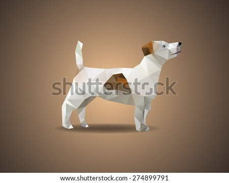 Low poly jack russell dog - Vector illustration - stock vector
