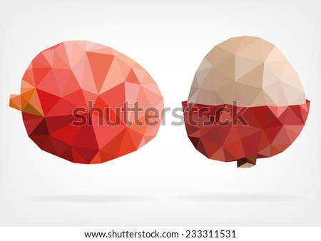 Low Poly Lychee fruit - stock vector