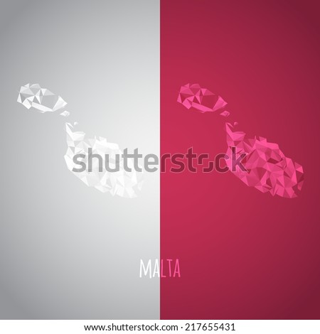 Low Poly Malta Map with National Colors - Infographic - Vector Illustration - stock vector