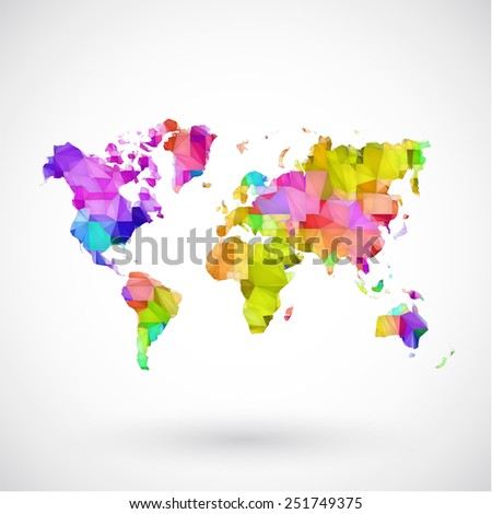 Low poly map  earth - stock vector