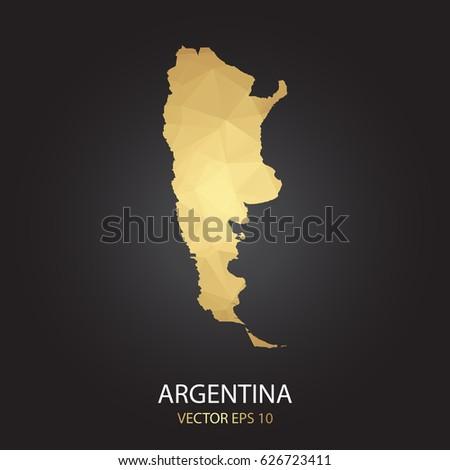 Argentina Map Stock Vector Shutterstock - Argentina map shape