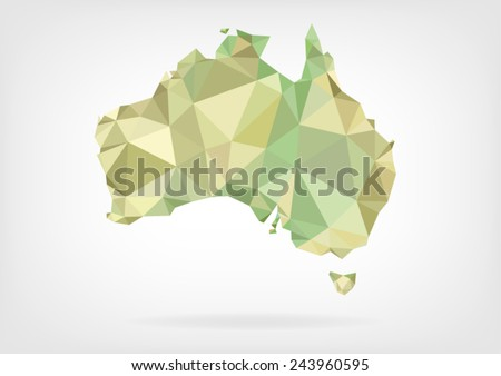 Low Poly map of Australia - stock vector
