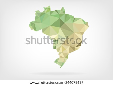 Low Poly map of Brazil - stock vector