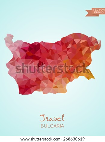 Low Poly Map of Bulgaria isolated. Vector version - stock vector