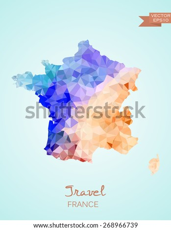 Low Poly Map of France isolated. Vector version - stock vector