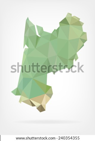 Low Poly map of french region Aquitaine - stock vector
