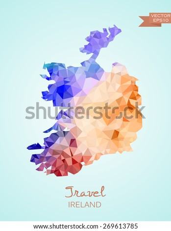 Low Poly Map of Ireland isolated. Vector version - stock vector
