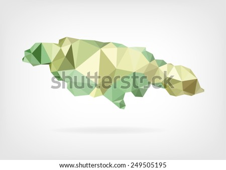Low Poly map of Jamaica - stock vector