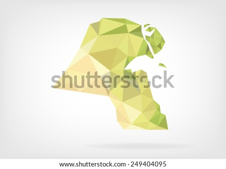 Low Poly map of Kuwait - stock vector