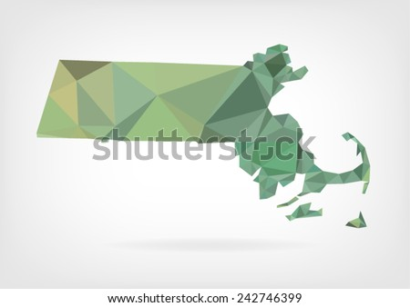 Low Poly map of  Massachusetts state - stock vector