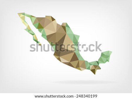 Low Poly map of Mexico - stock vector