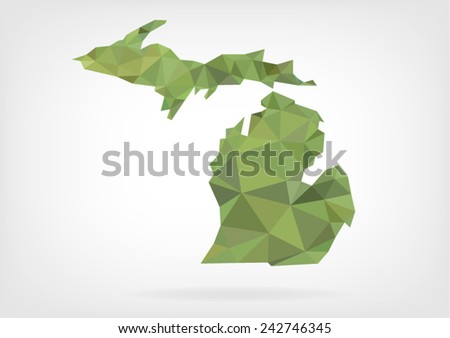Low Poly map of  Michigan state - stock vector