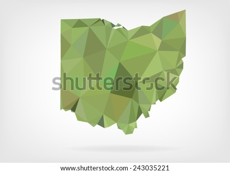 Low Poly map of Ohio state - stock vector