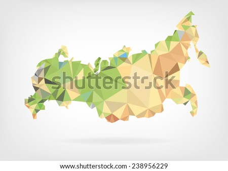 Low Poly map of Russian Federation - stock vector