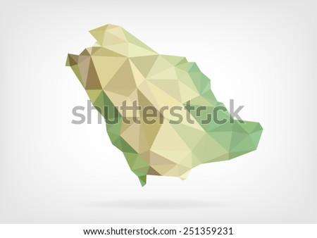 Low Poly map of Saudi Arabia - stock vector