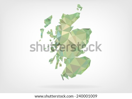 Low Poly map of Scotland - stock vector