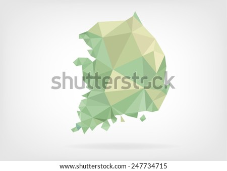 Low Poly map of South Korea - stock vector