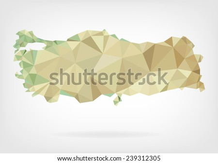 Low Poly map of Turkey - stock vector