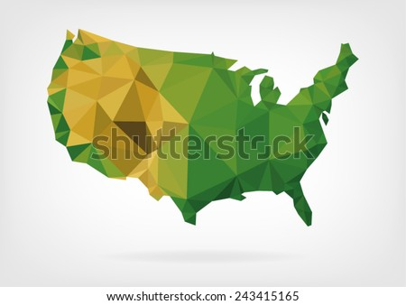 Low Poly map of USA - stock vector