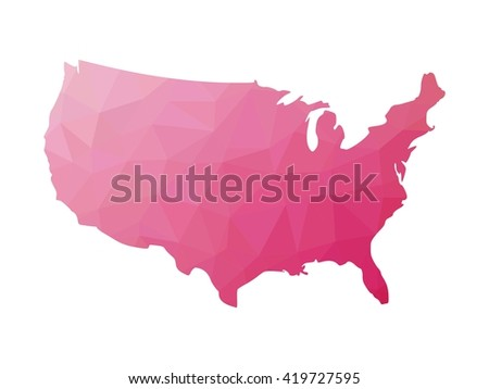 Low poly map of USA. Vector illustration made of pink triangles.
