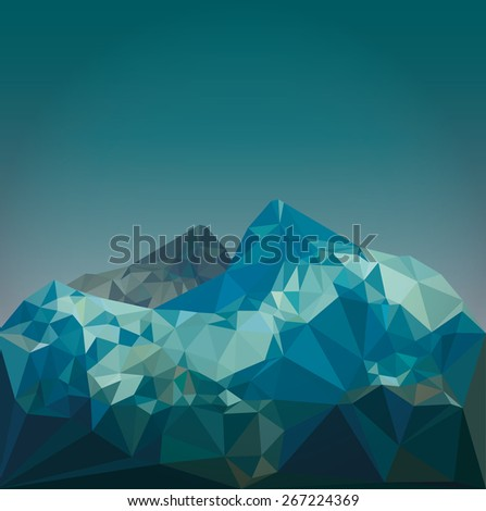 low poly mountain landscape  - stock vector