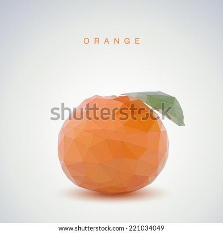 Low poly orange - stock vector