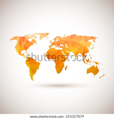 Low poly orange vector world map.  - stock vector