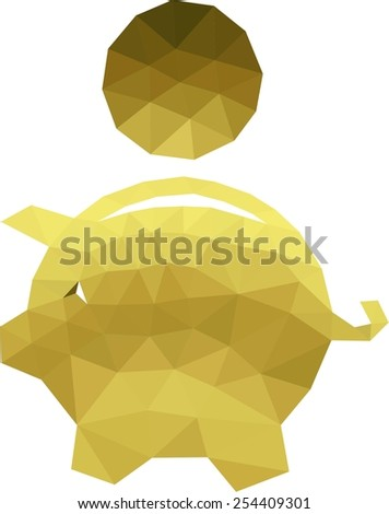 Low poly Piggy bank  - stock vector