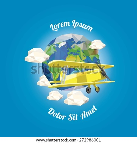 Low poly plane near earth with clouds. vector illustration - stock vector