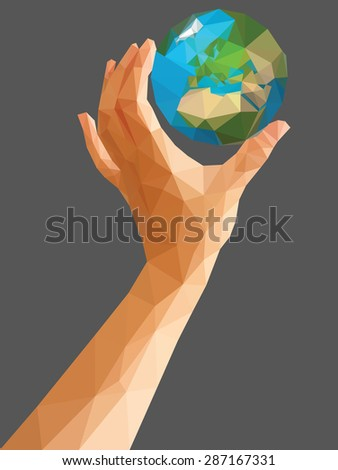 low poly polygon left hand holding a globe cartoon vertical orientation. - stock vector