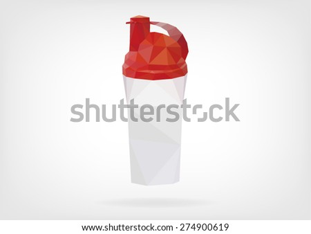 Low Poly Protein Shaker - stock vector