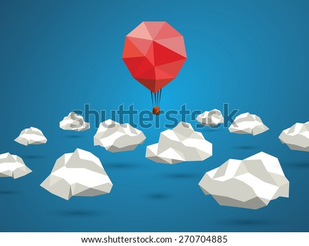 Low poly red balloon flying between polygonal clouds in the sky. Business concept for new projects or traveling. Eps10 vector illustration - stock vector