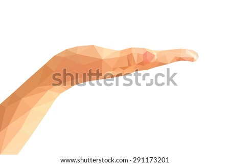 low poly right hand open hand isolated empty - stock vector