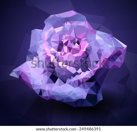 Low-poly rose. Vector Illustration. Abstract polygonal flower. Love symbol. Romantic background for Valentines day or wedding. - stock vector