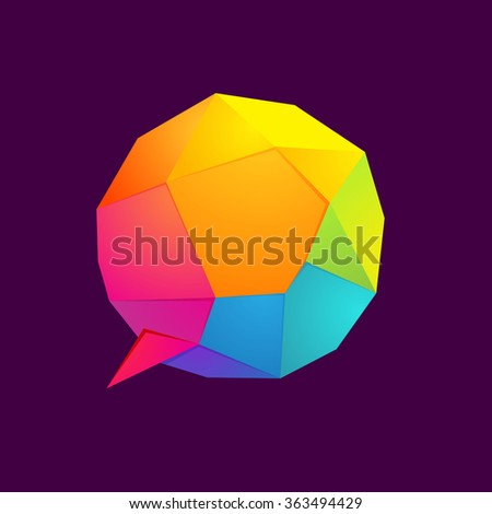 Low poly sphere speech bubble logo. Vector design template elements for your application or corporate identity. - stock vector