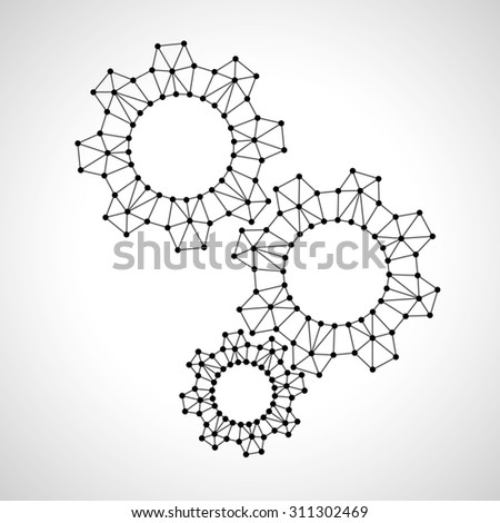 Low poly sprocket wheels. Business idea concept. - stock vector
