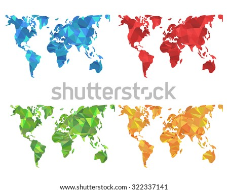 Low Poly Style Colorful World Map Set - stock vector