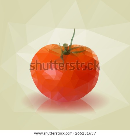 Low Poly Tomato Vector Illustration - stock vector