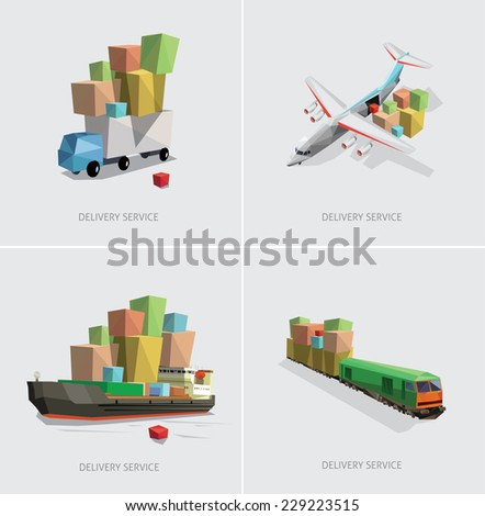 low poly transportation set vector illustration - stock vector