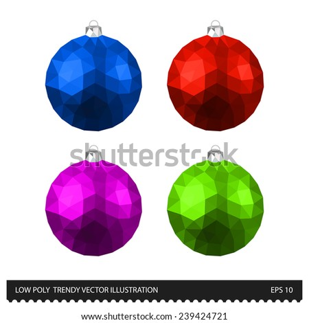 Low poly trendy vector Colored Christmas Balls illustration on white background. Abstract polygonal collection - stock vector