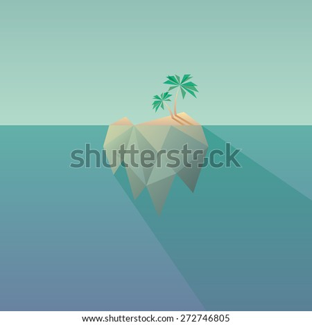 Low poly tropical island with long shadow. Modern polygonal design, vintage colors and geometric shapes. Suitable for posters, flyers, leaflets, presentations, vacation. Eps10 vector illustration - stock vector