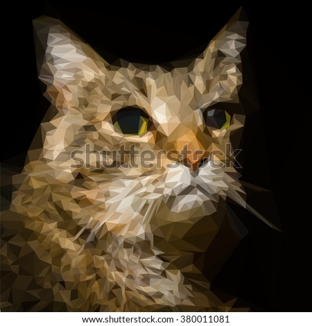 Low poly Vector Portrait of a cool Cat - stock vector